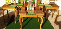 Jogo de mesa Provençal rústico com gavetas