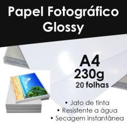 Papel Fotográfico Glossy Alto Brilho 230g, Pct C/ 20 Folha