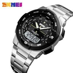 Título do anúncio: Relógio Militar SKMEI 1370 caixa Abs e aço inoxidável Prata A Prova D'água ENTREGA GRÁTIS*