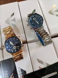 Título do anúncio: Relógio Masculino Nibosi 2503, lançamento. Dourado e prata