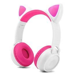 Fone de ouvido Gatinho sem Fio [Branco/Rosa] - HF-C290BT
