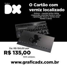 Título do anúncio: 1000 cartões de visita com verniz localizado apenas R$ 135,00