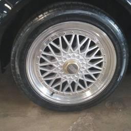 Título do anúncio: Rodas bbs 5x100 zeras com 4 pneus 225 45 17 zeros