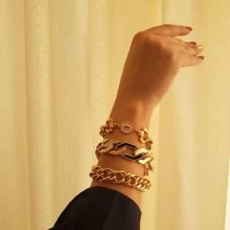Título do anúncio: Braceletes banhados a ouro 18k