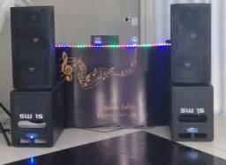 Subwoofer Soundbox Sw 15 Ativo 15 + Passivo 15 1000 Watts