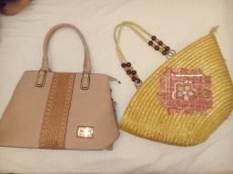 Vendo kit duas bolsas nude e de palha