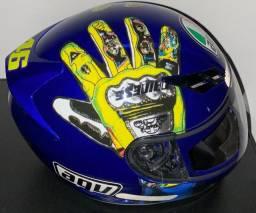 Capacete AGV K3 Mugello Hands Valentino Rossi Azul 57/58 (M/M)