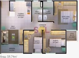 Apartamento no Condomínio Jardim de Manuella com 3 dormitórios à venda, 59 m² por R$ 276.0