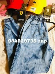 calça jeans masculina e feminina