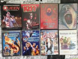 Lote com 8 DVDs ,Queen, Kiss, Pink Floyd, Nenhum de Nos, Grease, Quarteto Fantastico