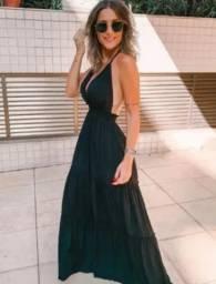 Vestido longo preto viscose (preto)