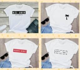 T-shirts em poliéster super leves e lindas P ao GG branca