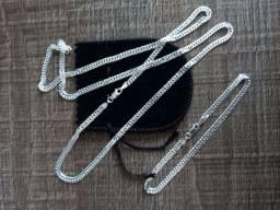 Conjunto grumet elo duplo de prata 925 italiana