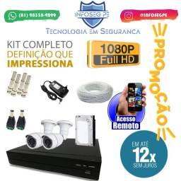 Kit 2 Câmeras Fullhd 12x de R$ 89,99 Sem Juros (Brinde Microfone Espião)