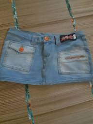 Mini saia jeans moletim tam 38/40