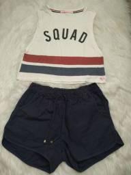 conjunto cropped e shorts