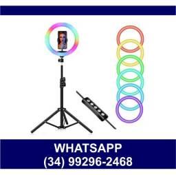 Ring Light 26cm Colorido c/ Tripé 2m * Fazemos Entregas