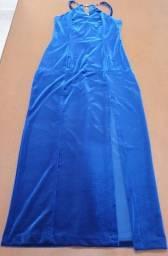 Título do anúncio: Vestido Longo para Festa Casamento Formatura <br>Tamanho M<br>Veludo Azul Royal com strass<br>