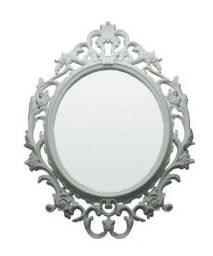 Espelho Oval Branco 57x82x3cm Moldura Evolux