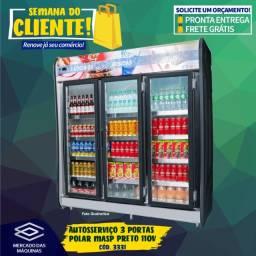 Título do anúncio: Autosserviço expositor refrigerado 3 portas Polar MASP preto Novo Frete Grátis