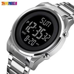 Título do anúncio: Relógio Militar SKMEI 1611 Prata aço led digital  Resistente á água 3ATM ENTREGA GRÁTIS*