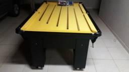 Mesa de Caçapa de Rede Cor Preta MDF Tecido Amarelo Tx Mod. MLUA4895