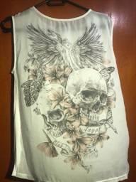 Blusa Branca - Frente Transparente Com Estampa - Angel Club.