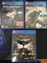 Jogos PS4 - Watchdogs Metal Gear Batman Arkan Knight
