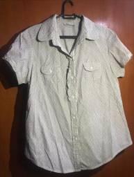 Blusa Branca com detalhes listrados pequenos - Siberian