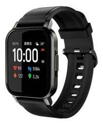 "Smartwatch Haylou Smart Watch 2 1.4"" caixa prateada pulseira preta de silicone LS02"