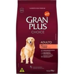 15kg - Ração Gran Plus Menu Cães Adultos Raças Médias e Grandes - Sabor Frango e Carne