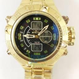 Relógio Masculino Dual Time Dourado