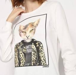 Blusão Gato Em Moletinho Sommer