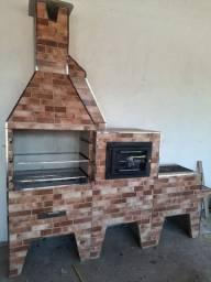 Título do anúncio: Conjunto churrasqueira, forno e fogão a lenha