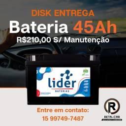 Título do anúncio: Disk Bateria Lider 45 ah :) Sorocaba e Votorantim