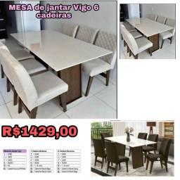 Mesa de Jantar Vigo c/ 6 cadeiras Entrega Goiânia e Aparecida