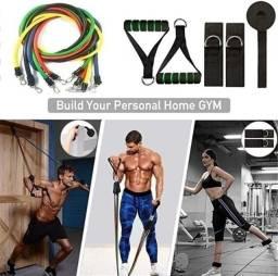 Elásticos Extensor P/exercícios Funcional Casa Kit 11 Peças