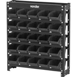 Estante metálica com gavetas, modelo prático 25/3, cor preta, Vonder