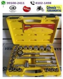 Kit chave catraca e soquetes estriados ate 32mm tramontina 22 peças - entrega grátis