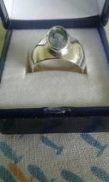 Anel em prata 950 com água marinha azul