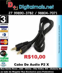 Cabo De Audio P2 X P2 Conector 3.5mm 2 Metros