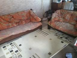 Jogo de sofá de madeira maciça