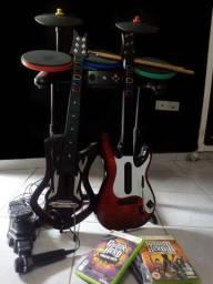 Kit Guitar Hero Xbox360 - Guitarra, Bateria, Microfone, Jogos