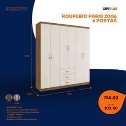 Título do anúncio: Roupeiro Paris 2006 6 Portas (Entrega Rápida/Frete Grátis)