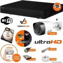 Título do anúncio: Kit cftv 4 câmeras full HD 1080P instalação gratuita/veja pelo celular