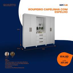 Título do anúncio: Roupeiro Capelinha com Espelho 4, com Espelho (Entrega Rápida/Frete Grátis)
