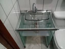 Gabinete de Vidro com cuba _cor: Incolor, acompanha espelho + a torneira Fabrimar