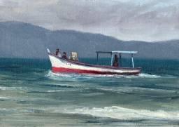 Quadro Pintura óleo sobre tela original marina decoração sala quarto varanda