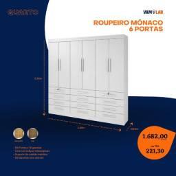Título do anúncio: Roupeiro Monaco 6 Portas (Entrega Rápida/Frete Grátis)