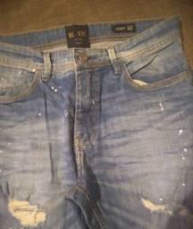 Calça jeans skinny tamanho 40 com fluidos